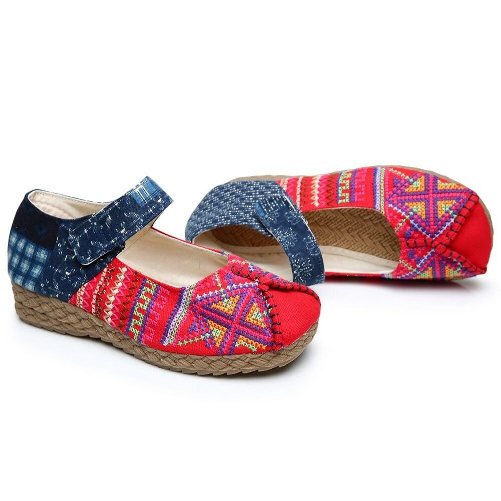 Old Beijing Cloth Embroidered Shoes Cross Stitch   red