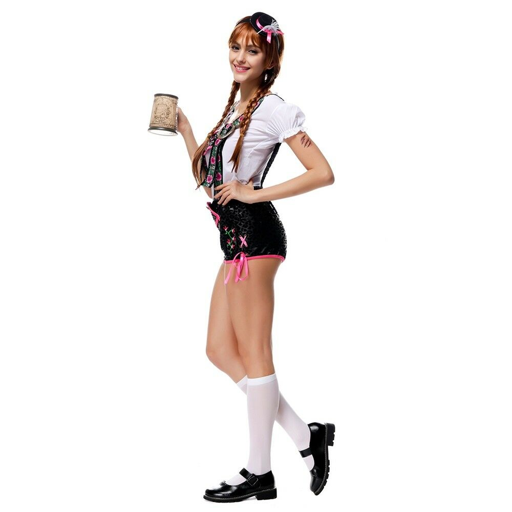 Luxury Embroidery Suspender Pants Costume Waitress Halloween