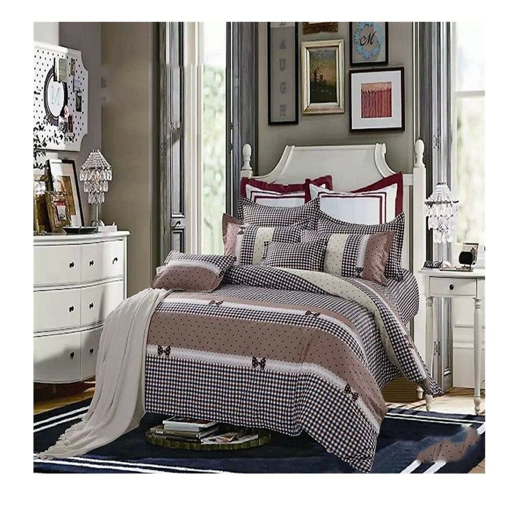 Bed Quilt Duvet Sheet Cover 4PC Set Upscale Cotton 100% 015