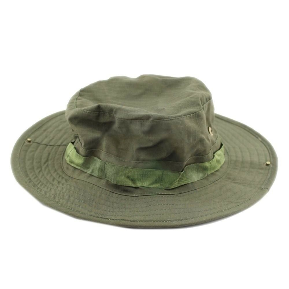 Outdoor Casual Combat Camo Ripstop Jungle Sun Hat Cap Fishing Hiking   Olive