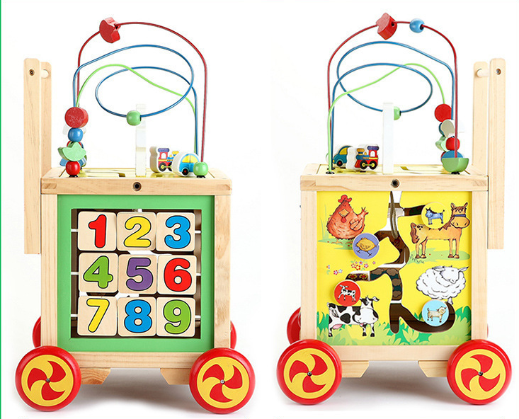 NEW Wooden Colorful Baby Walker Activity Trolley