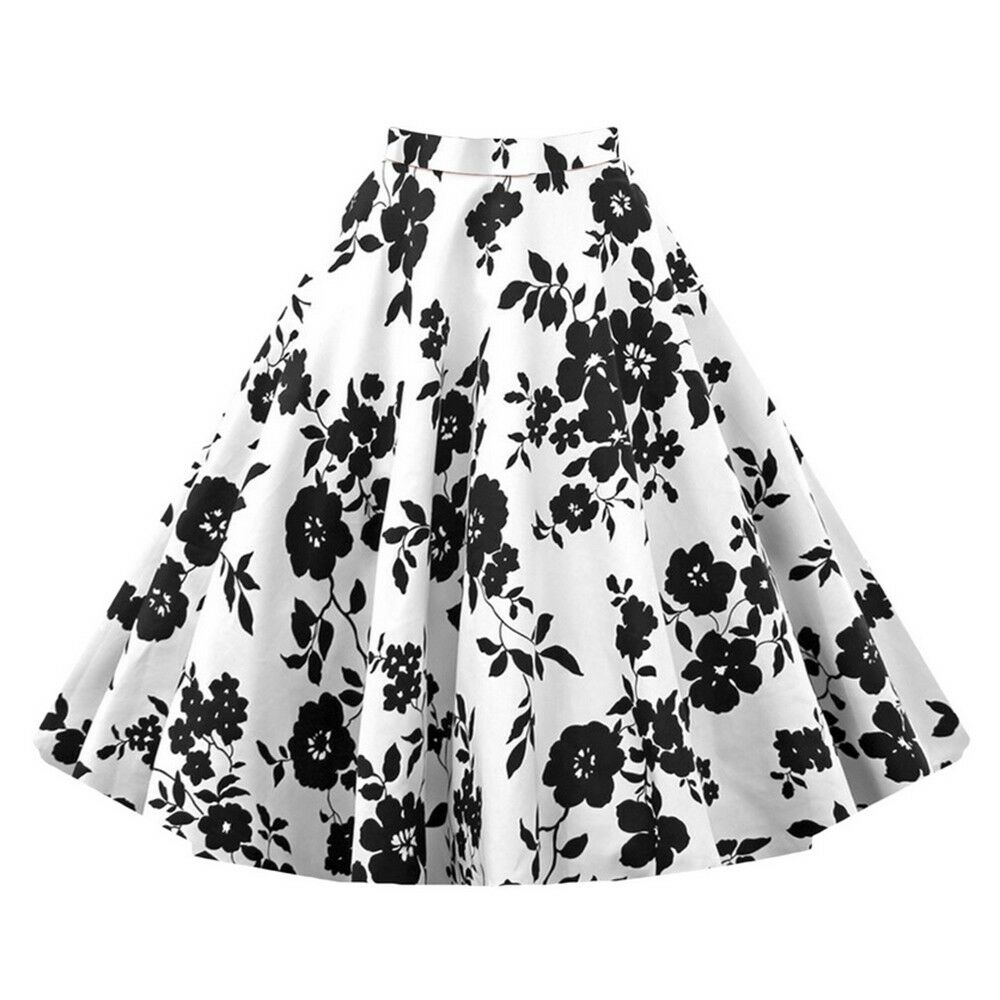 Hepburn Style Vintage Bubble Skirt A-line Pleated Skirt   white black
