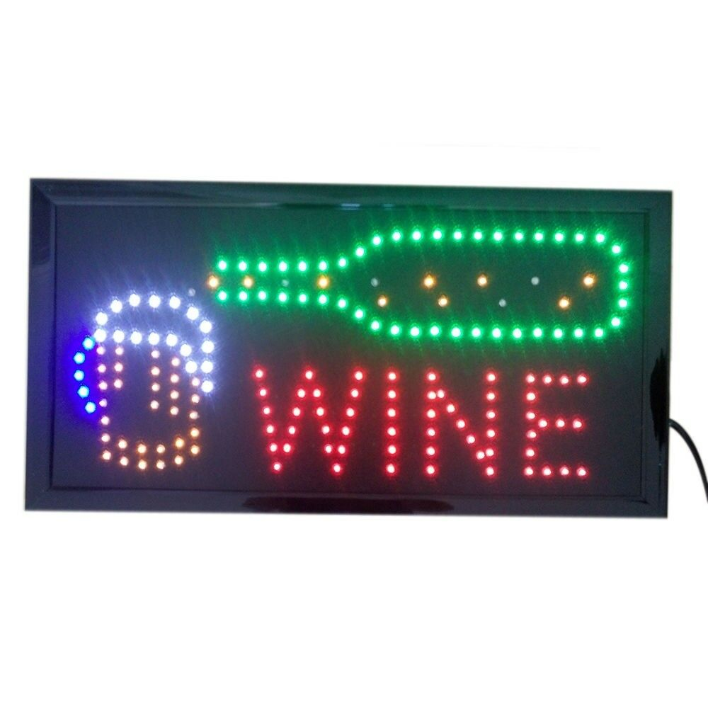 Wine Neon Lights LED Animated Customers Attractive Sign 220V