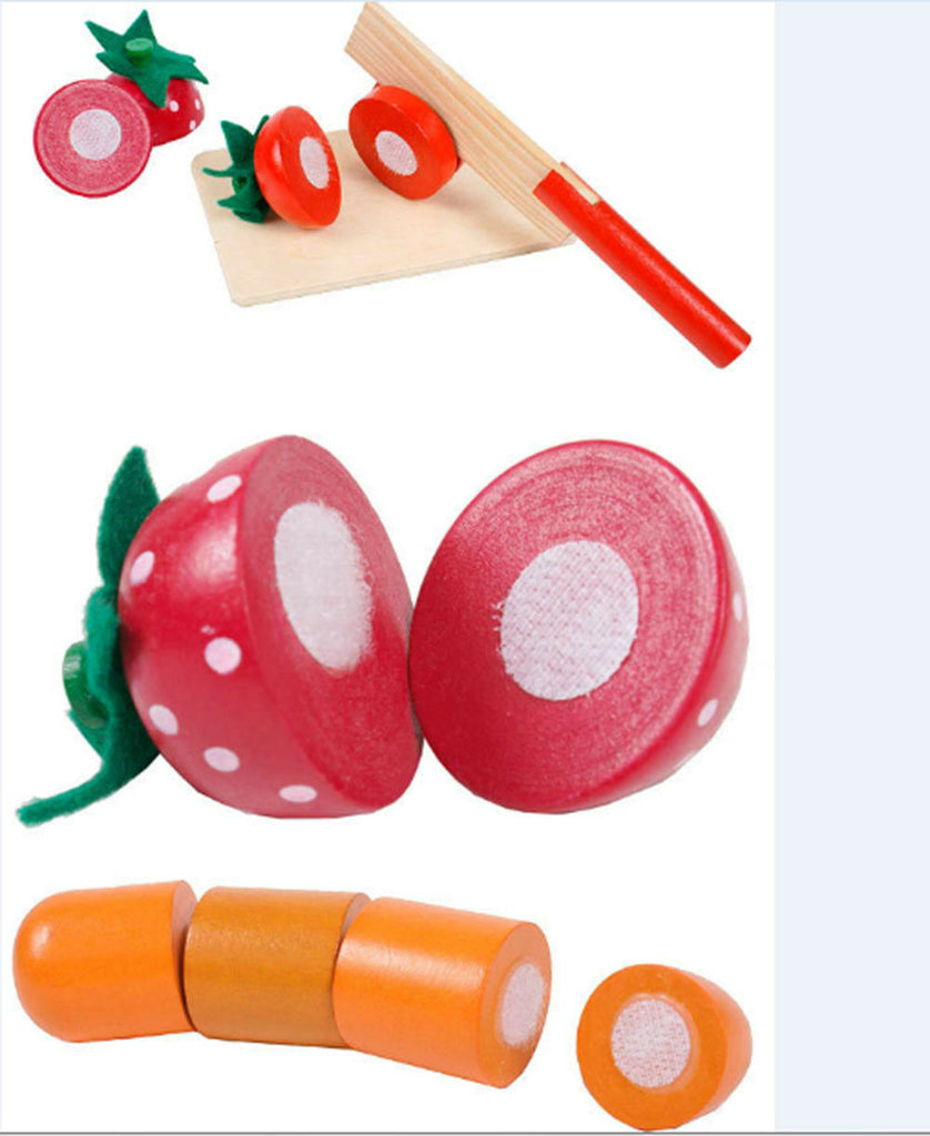 NON-TOXIC WOODEN CUTTING FRUIT  kitchen pretend role play food kids toy
