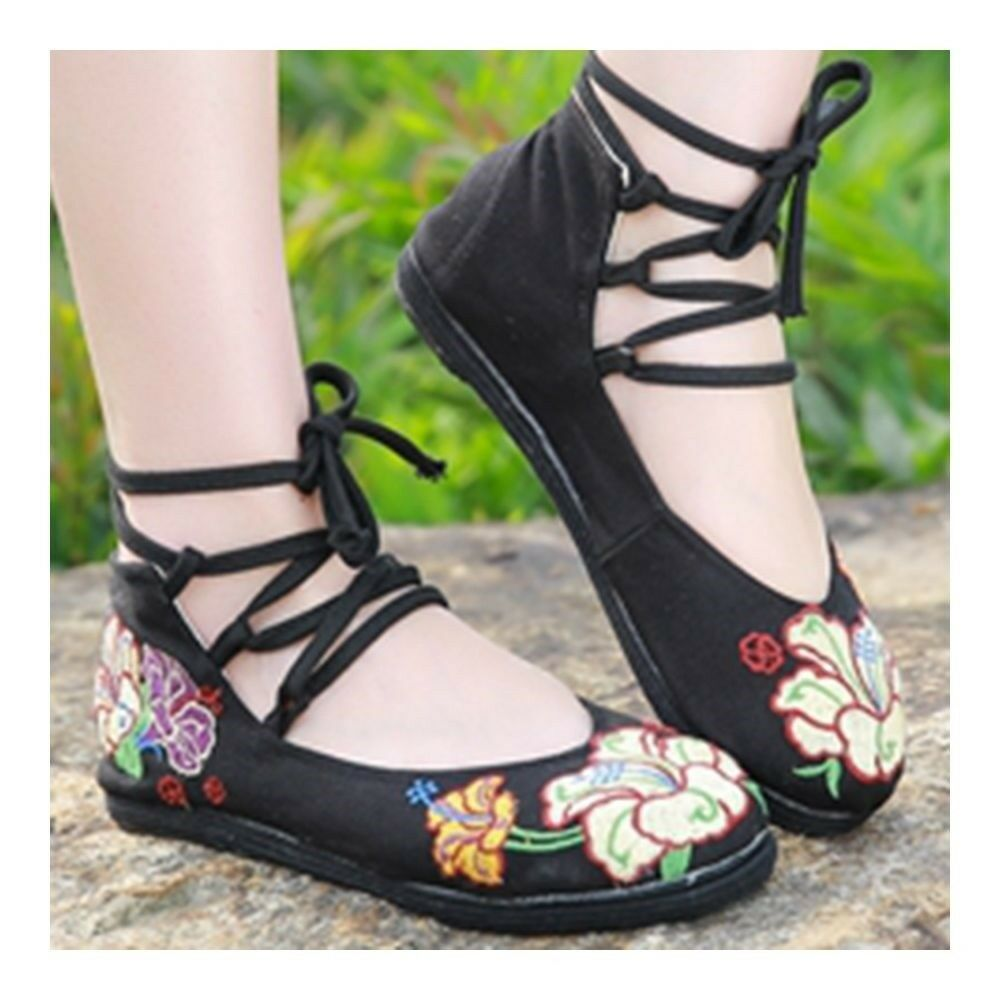 Old Beijing Cloth Embroidered Shoes Low-cut   black