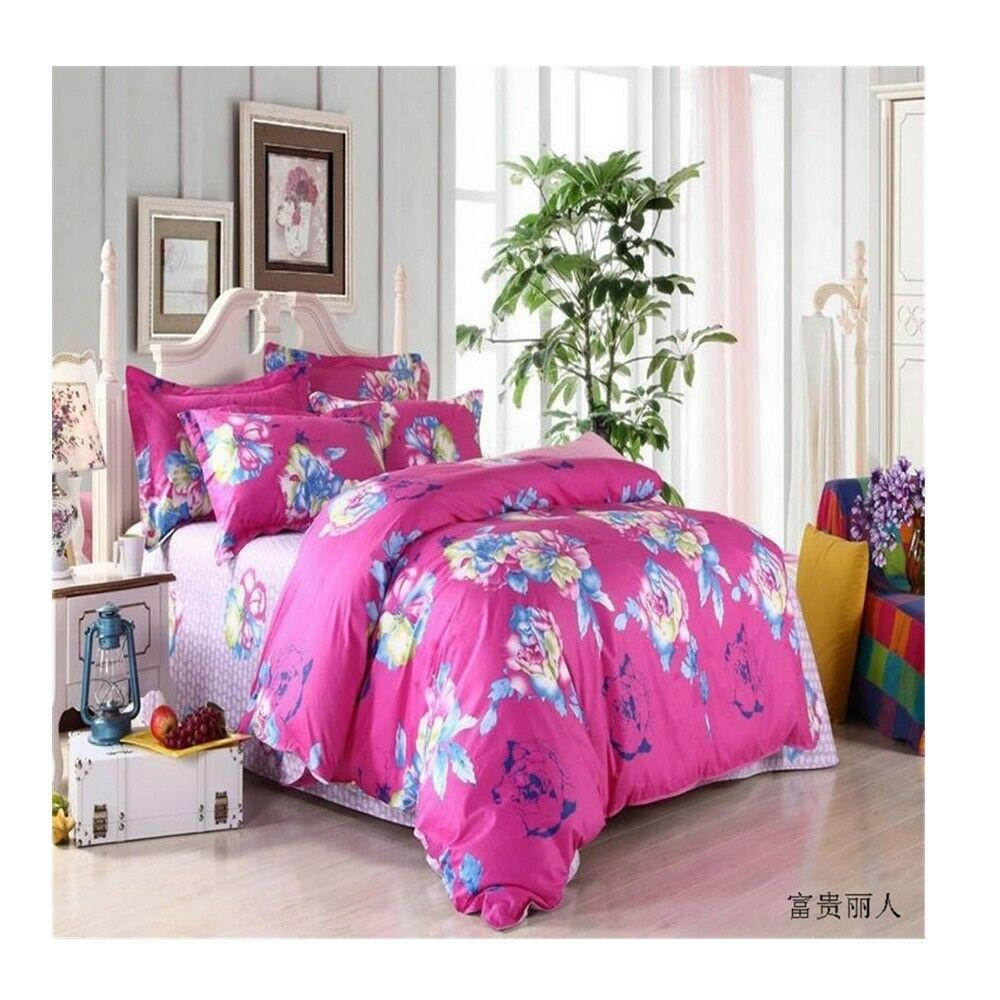 Bed Quilt Duvet Sheet Cover 4PC Set Upscale Cotton 100% 004