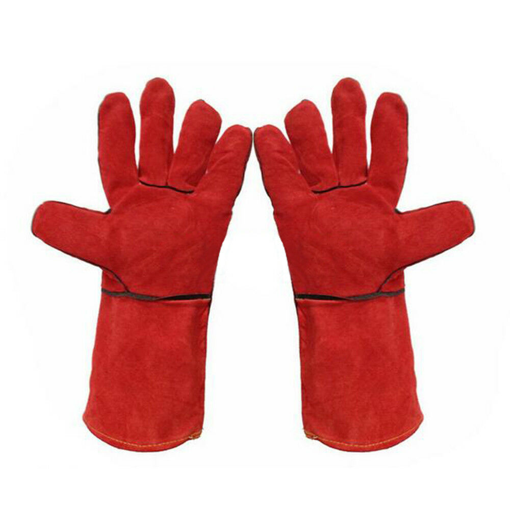 1 pair Long Mig Welding WELDERS Work Cowhide Leather Gloves 35cm Full Red