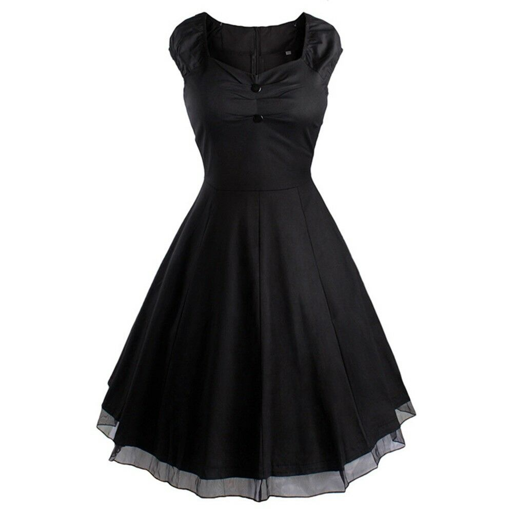 Vintage Hepburn Style Sleeveless Solid Color Dress   black
