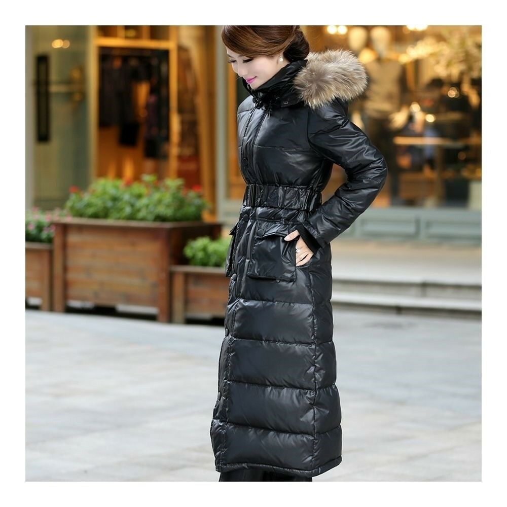 Big Fur Collar Plus Size Extra Long Thick Slim Down Coat   black