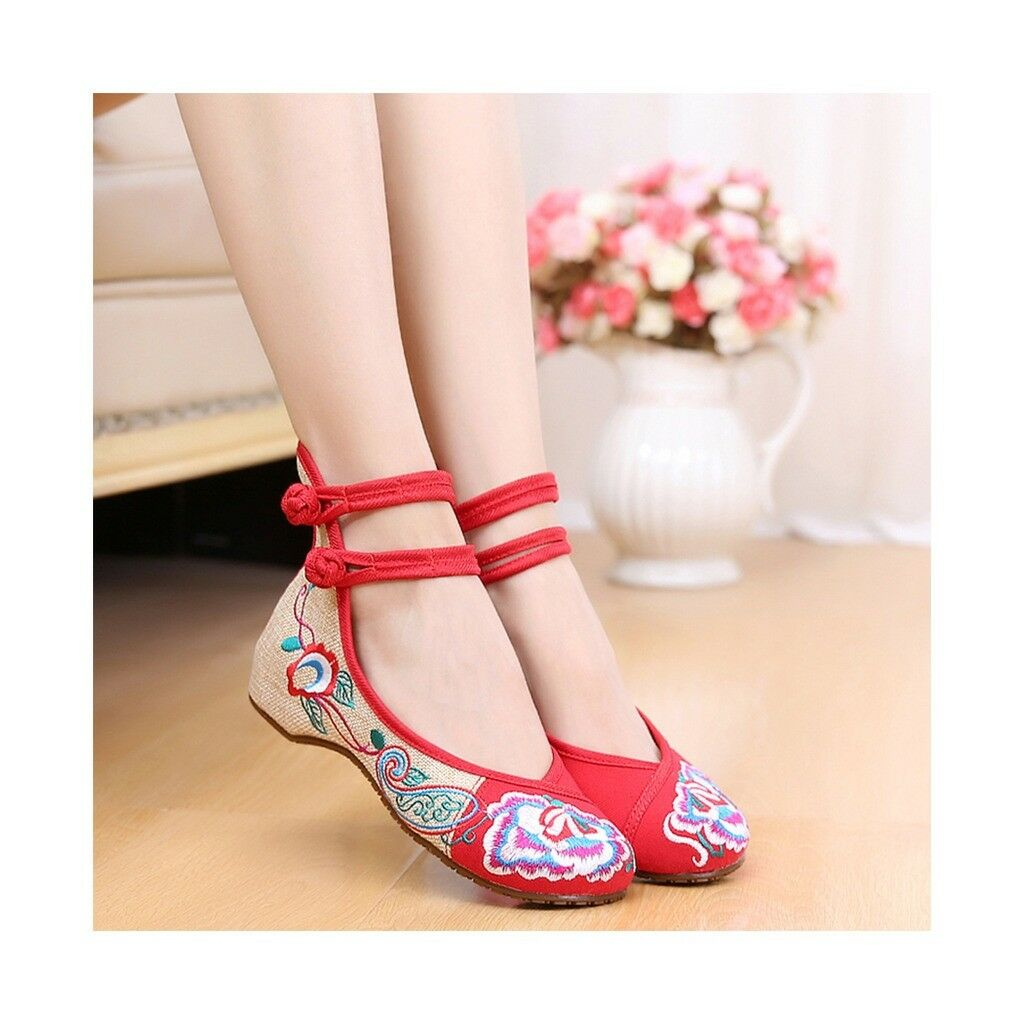 Old Beijing Cloth Shoes Assorted Colors Casual Tie Embroidered Shoes Slipsole Lo