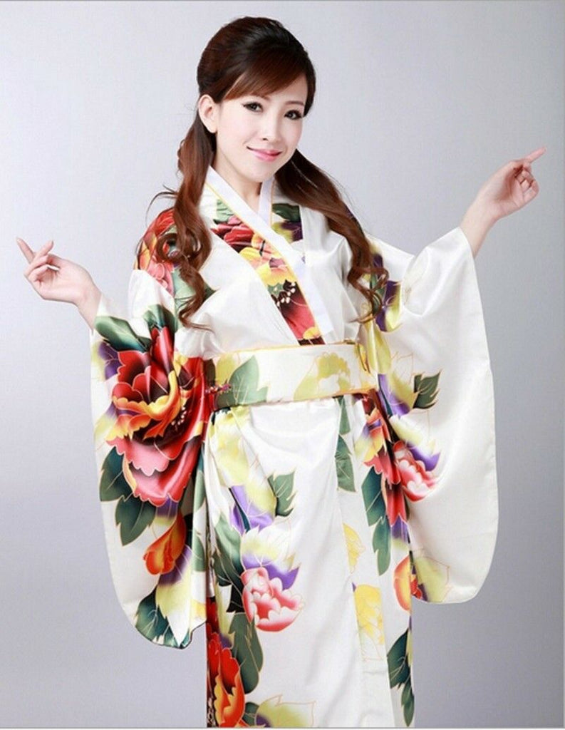 Vintage Retro LuxuriousJapanese Garment Kimono Cosplay Costume Yukata Gown white