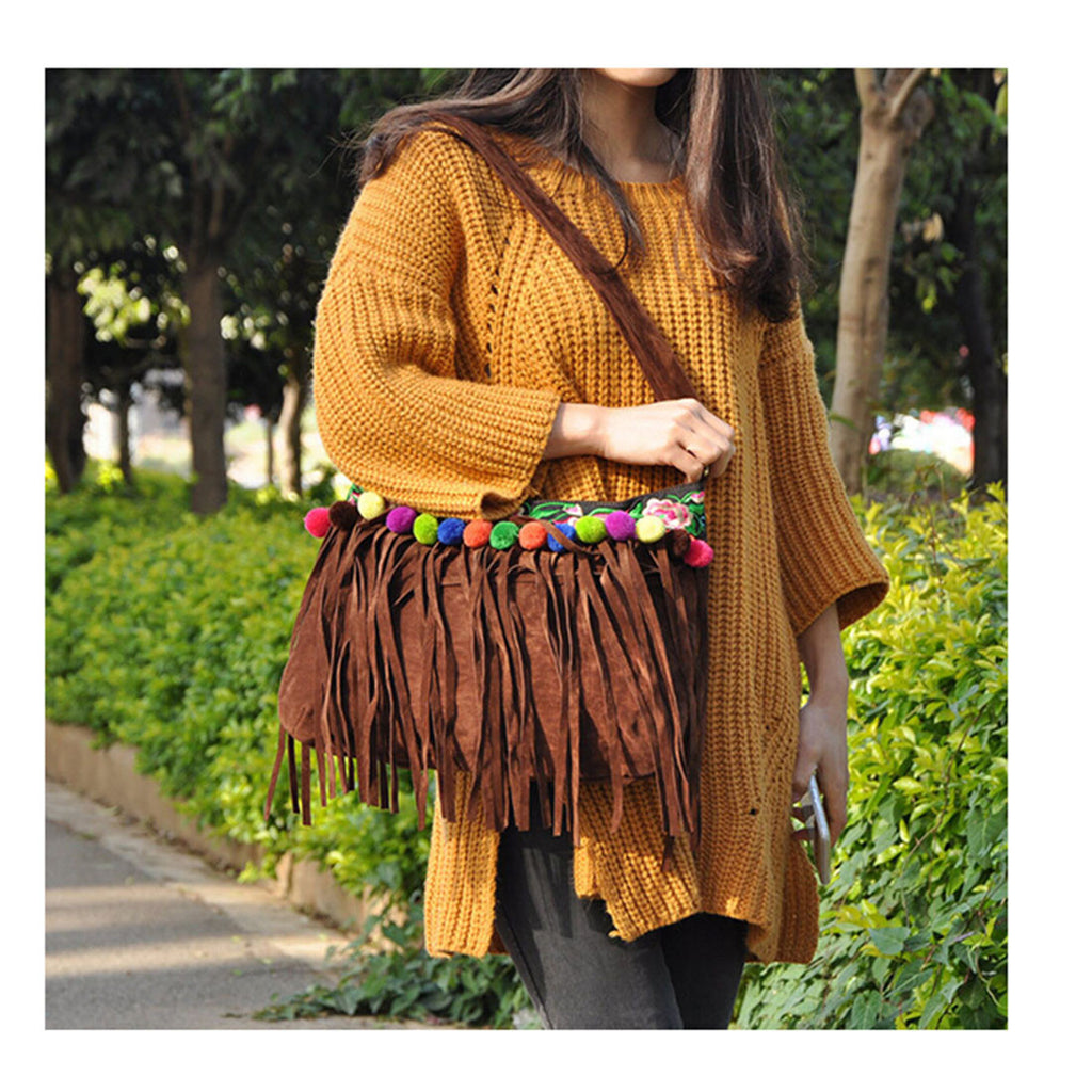 New Winter National Style Embroidery Woman's Single-shoulder Bag Chinese Style Tassel Single-shoulder Bag Messenger Bag 93121   brown - Mega Save Wholesale & Retail - 4