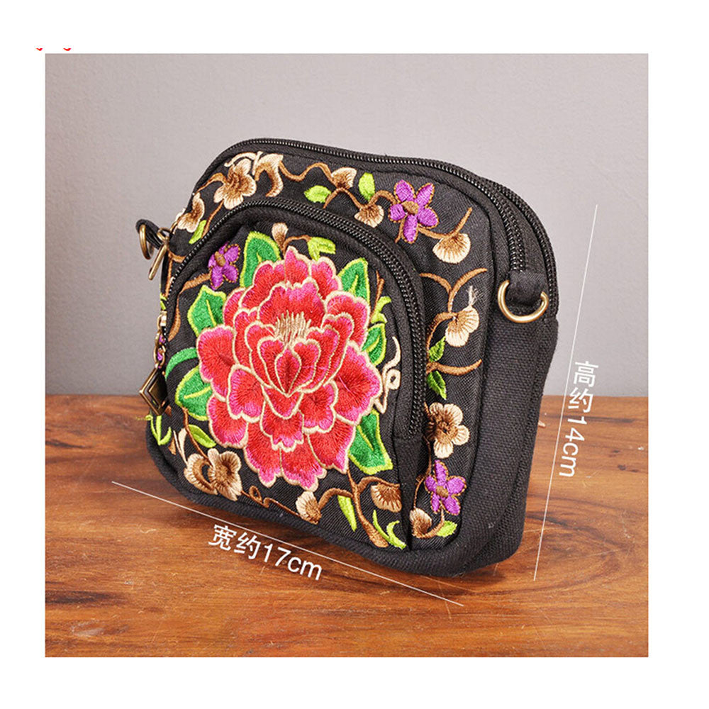 Yunnan National Style Embroidery Bag Embroidery Canvas Messenger Bag Woman Coin Case Mobile Phone Bag   small zamioculcas zamiifolia - Mega Save Wholesale & Retail - 4