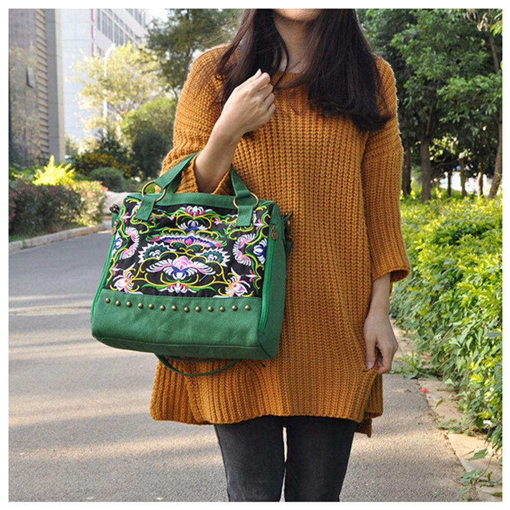 New National Style Embroidery Woman's Single-shoulder Bag Handbag Chinese Style Messenger Bag   green - Mega Save Wholesale & Retail - 4