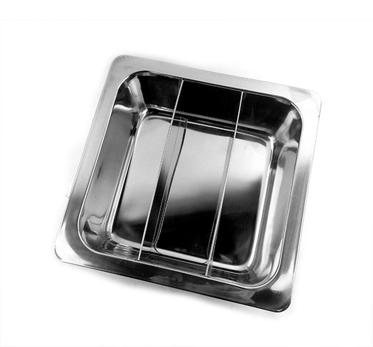 Special thick stainless steel fondue pots square wholesale non-magnetic grid there is no clear lattice duck pot soup pot factory direct   3 Cells - Mega Save Wholesale & Retail - 1