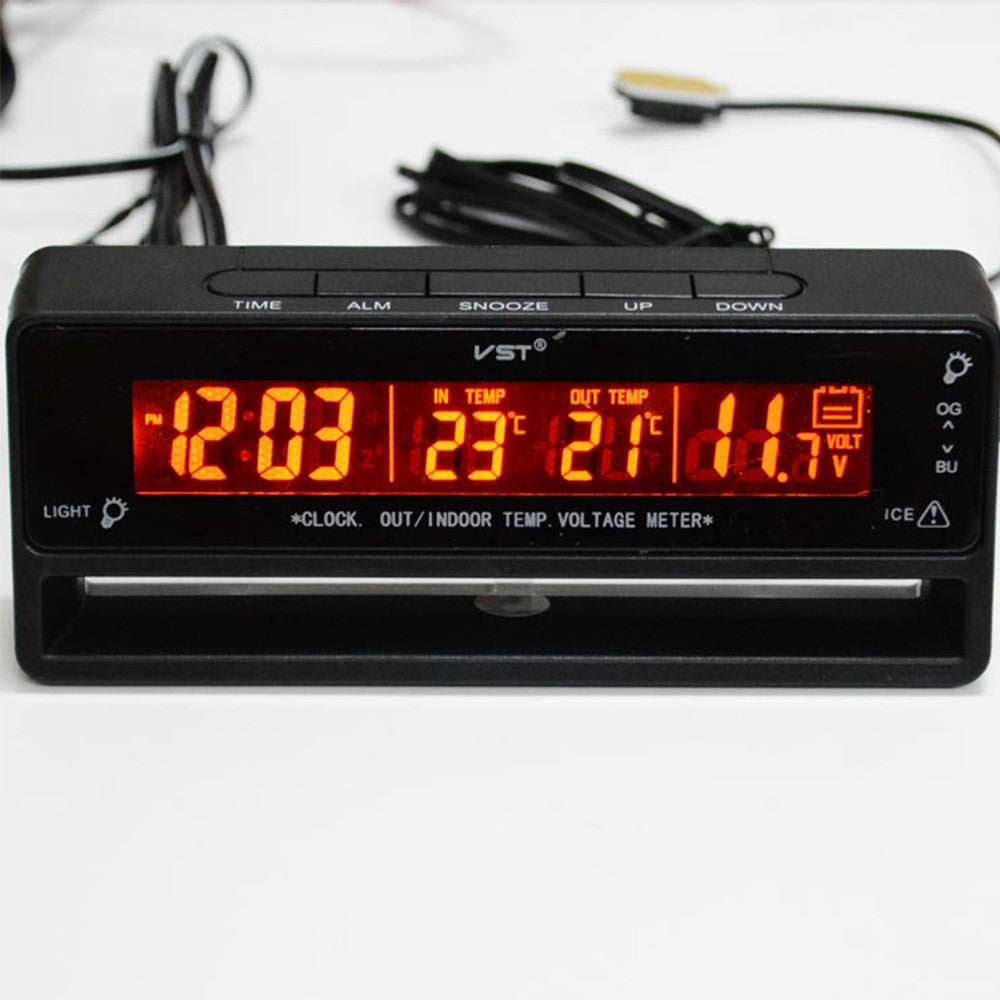 Automotive Indoor Outdoor Thermometer Car Voltage Meter Car Clock Thermoneter Ice Alert - Mega Save Wholesale & Retail - 1