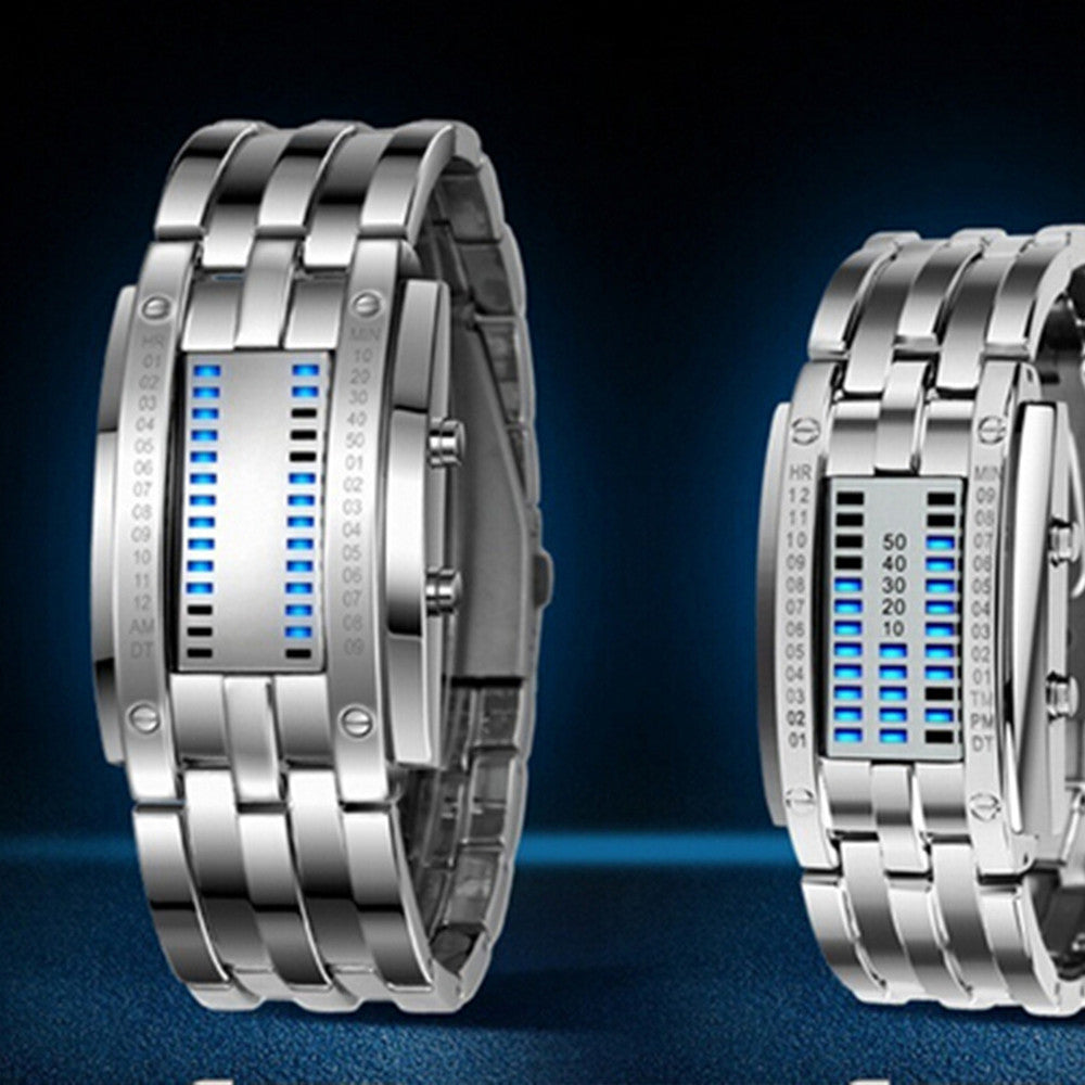 Deep Waterproof Creative Date Digital LED Luminous steel Men Women Bracelet Fashion Chic Watch Silver Men - Mega Save Wholesale & Retail - 2