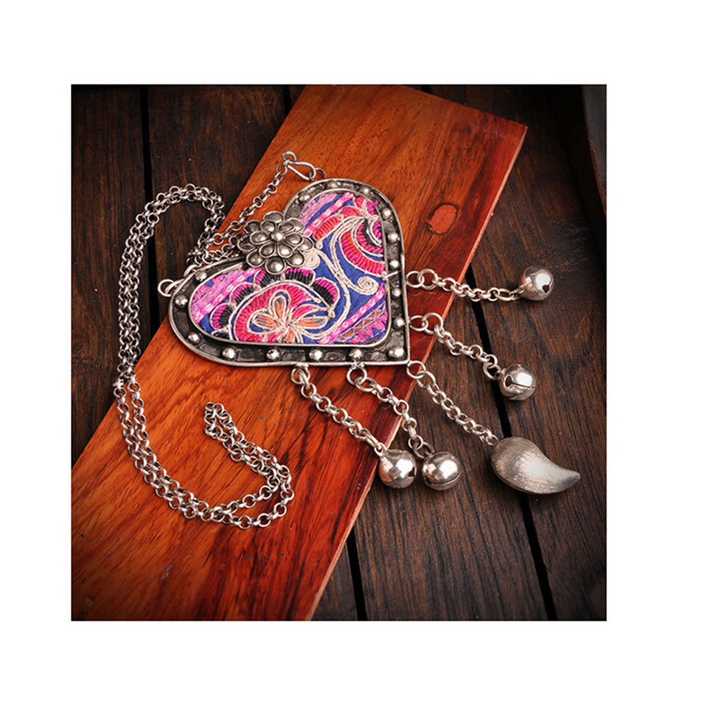 National Embroidery Miao Silver Pendant Old Miao Embroidery Manual Vintage Oranment Necklace Pendant Heart Shape - Mega Save Wholesale & Retail - 3