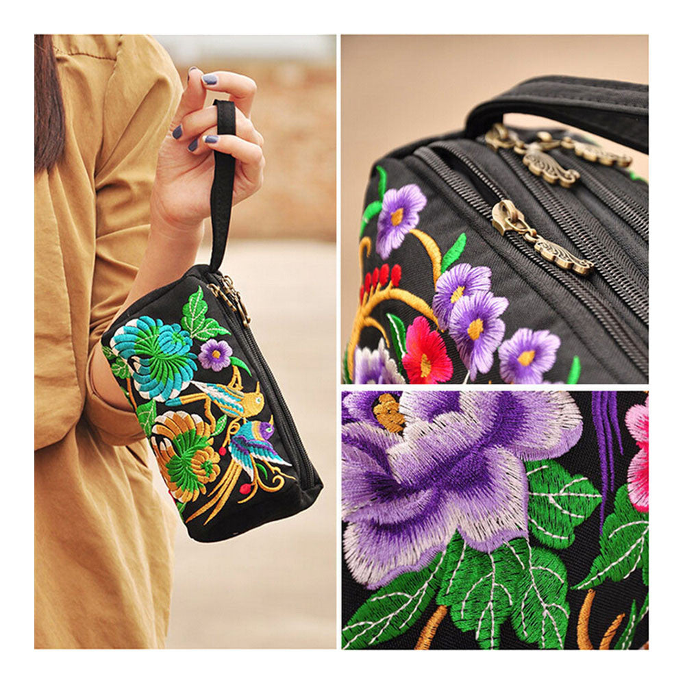 National Style Miao Embroidery Bulk Three Rows Zipper Small Bag Coin Case Mobile Phone Bag - Mega Save Wholesale & Retail - 3