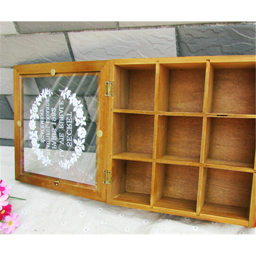 Zakka Retro Vintage 9 Cabinets Jewelry Storage Wooden Box Clear Cover    Yellow Heart - Mega Save Wholesale & Retail - 4