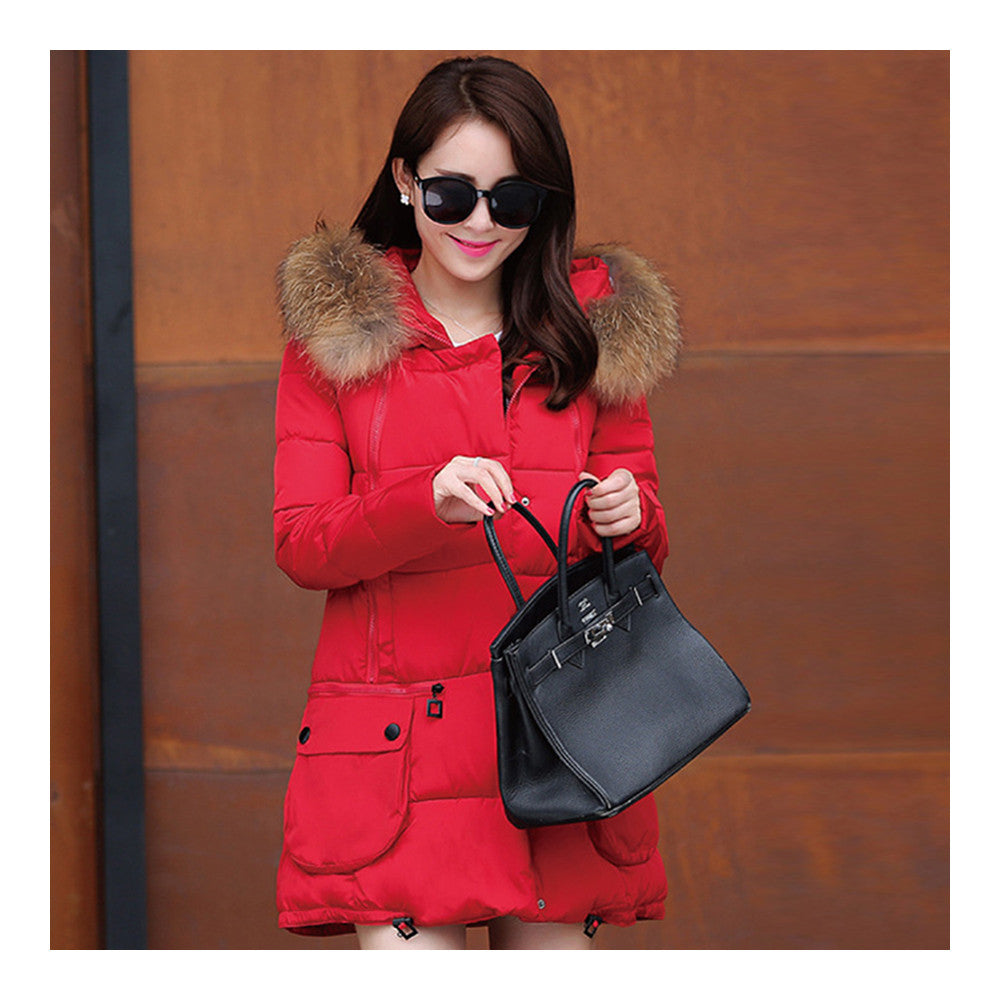 Winter Woman Fur Collar Down Coat Middle Long Warm   red   S - Mega Save Wholesale & Retail - 1