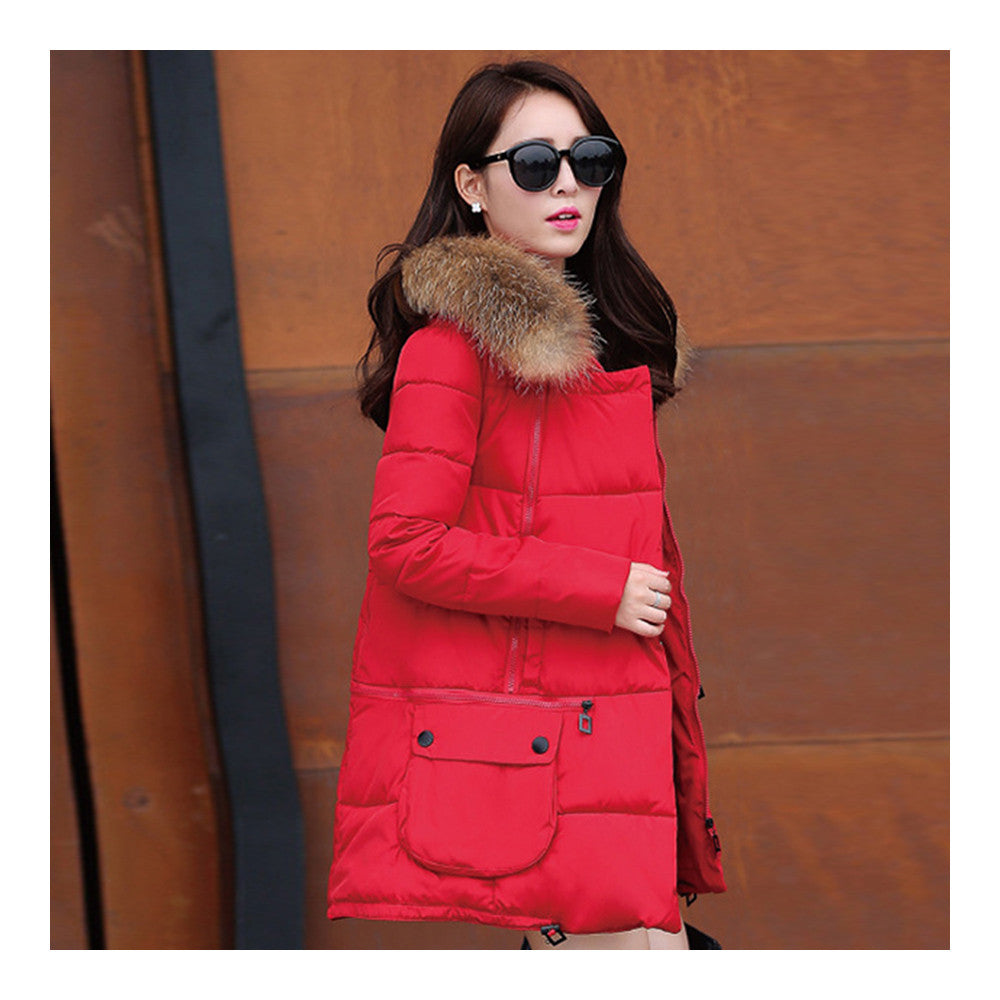 Winter Woman Fur Collar Down Coat Middle Long Warm   red   S - Mega Save Wholesale & Retail - 2