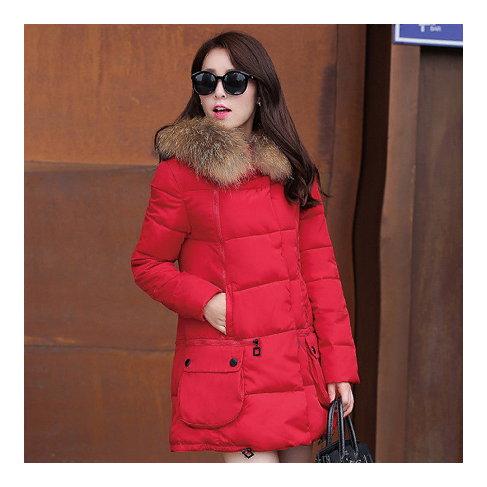 Winter Woman Fur Collar Down Coat Middle Long Warm   red   S - Mega Save Wholesale & Retail - 3