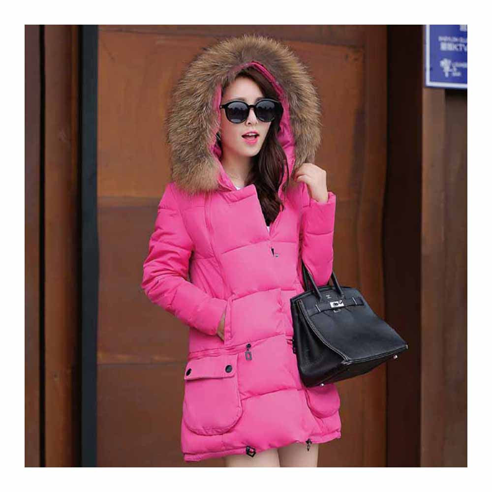 Winter Woman Fur Collar Down Coat Middle Long Warm   rose red   S - Mega Save Wholesale & Retail - 1