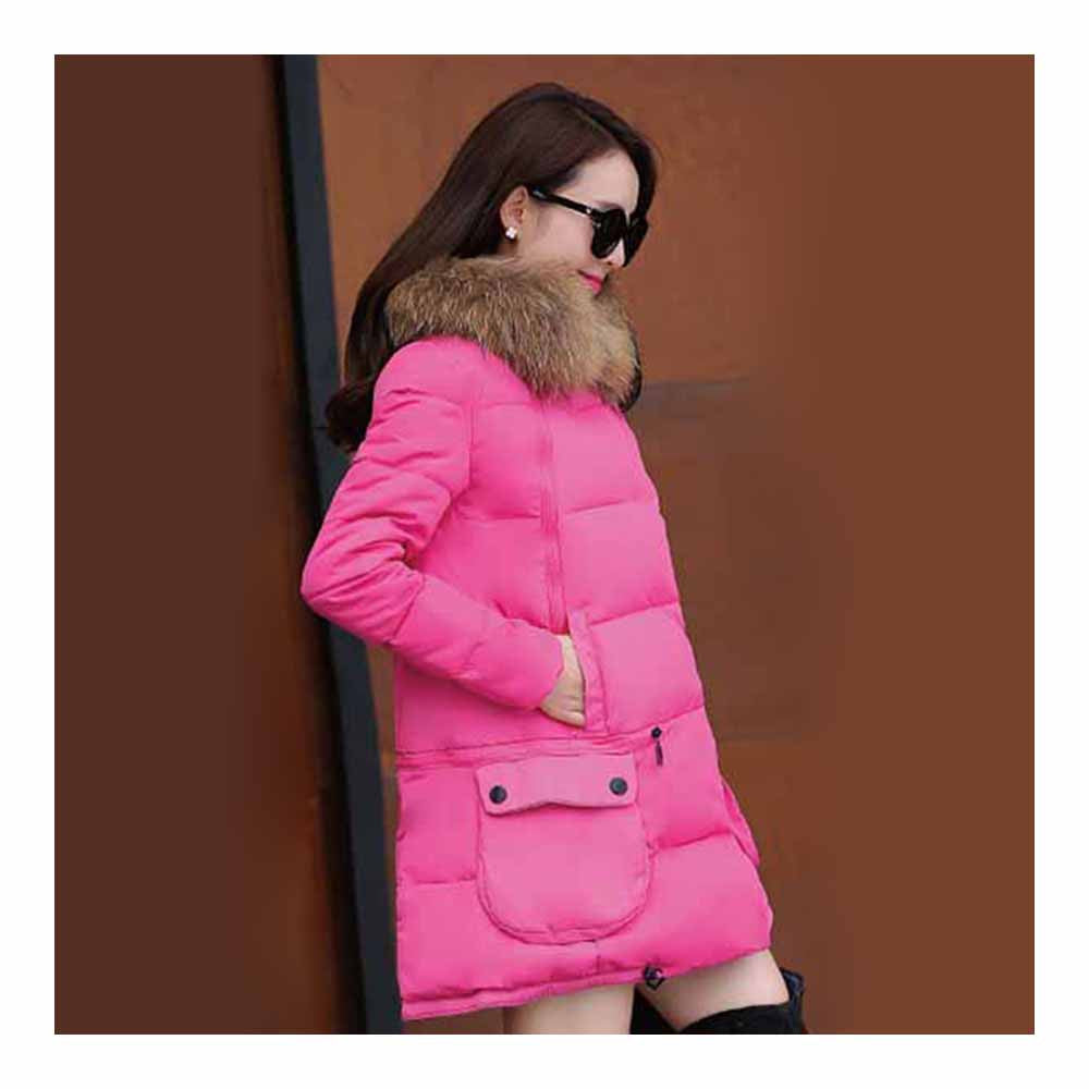 Winter Woman Fur Collar Down Coat Middle Long Warm   rose red   S - Mega Save Wholesale & Retail - 2