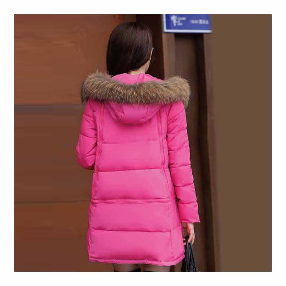 Winter Woman Fur Collar Down Coat Middle Long Warm   rose red   S - Mega Save Wholesale & Retail - 3