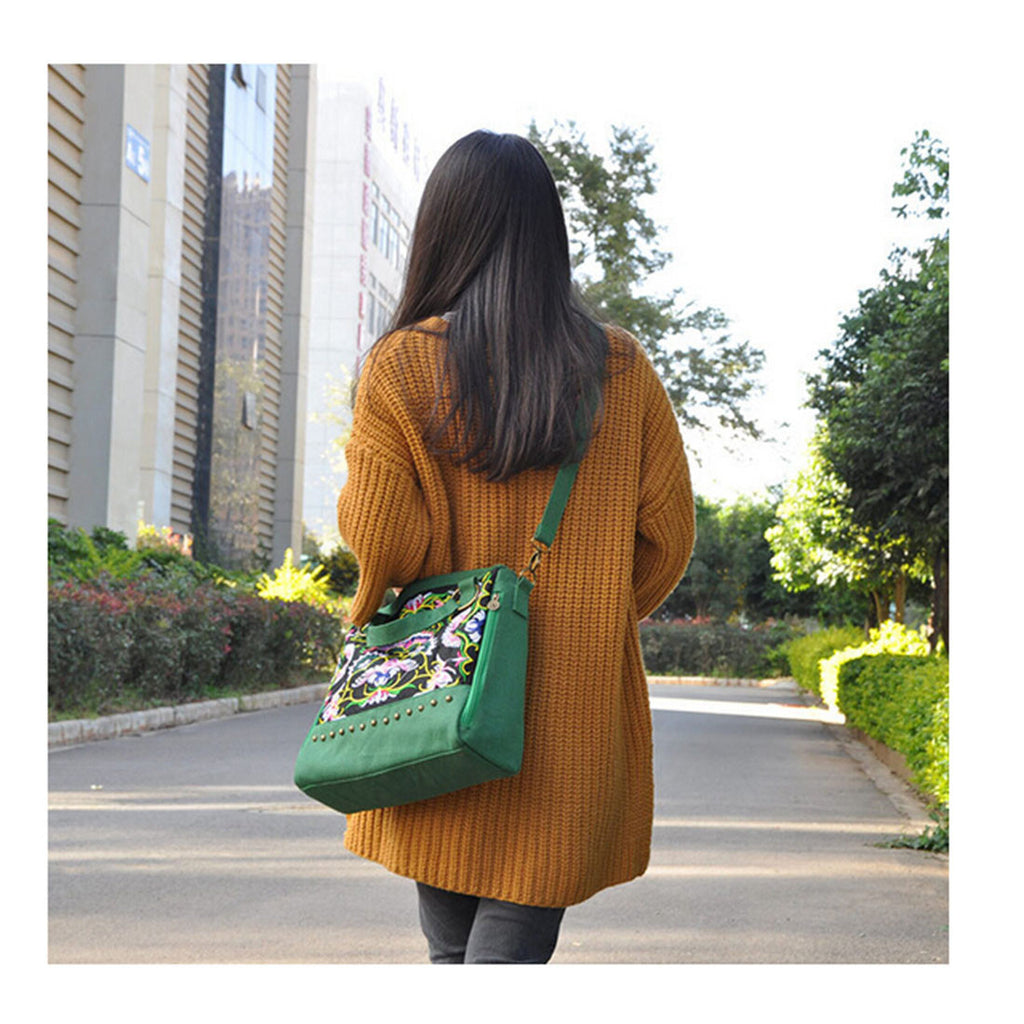 New National Style Embroidery Woman's Single-shoulder Bag Handbag Chinese Style Messenger Bag   green - Mega Save Wholesale & Retail - 5
