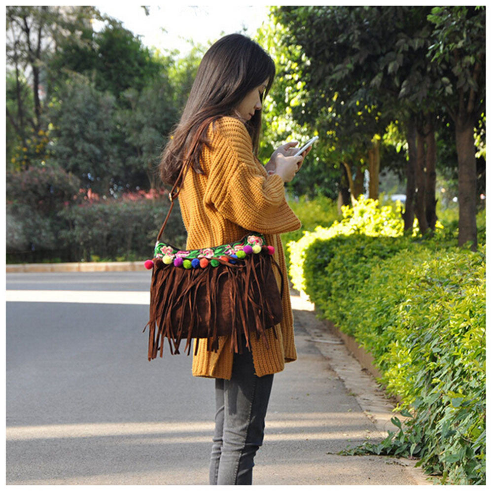 New Winter National Style Embroidery Woman's Single-shoulder Bag Chinese Style Tassel Single-shoulder Bag Messenger Bag 93121   brown - Mega Save Wholesale & Retail - 5