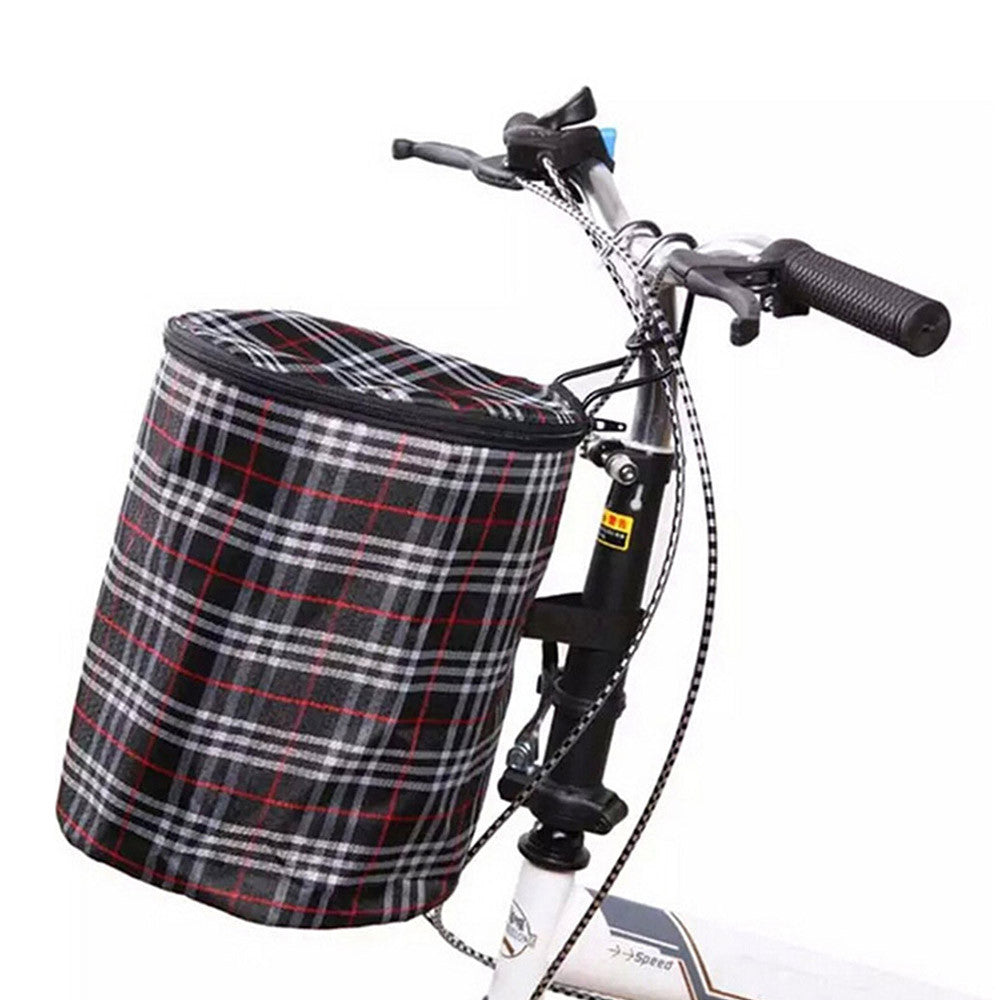 New Bike Bicycle Front Folded Handlebar Canvas Storage Basket Carrier Red - Mega Save Wholesale & Retail - 3