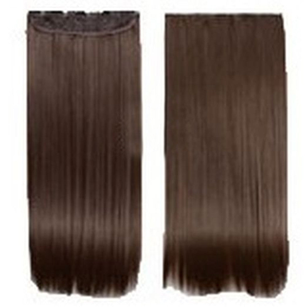 Five card piece 120g high temperature wire synthetic hair Straight hair extension 60 # Seamless wig curtain Highlights   #4 - Mega Save Wholesale & Retail - 1
