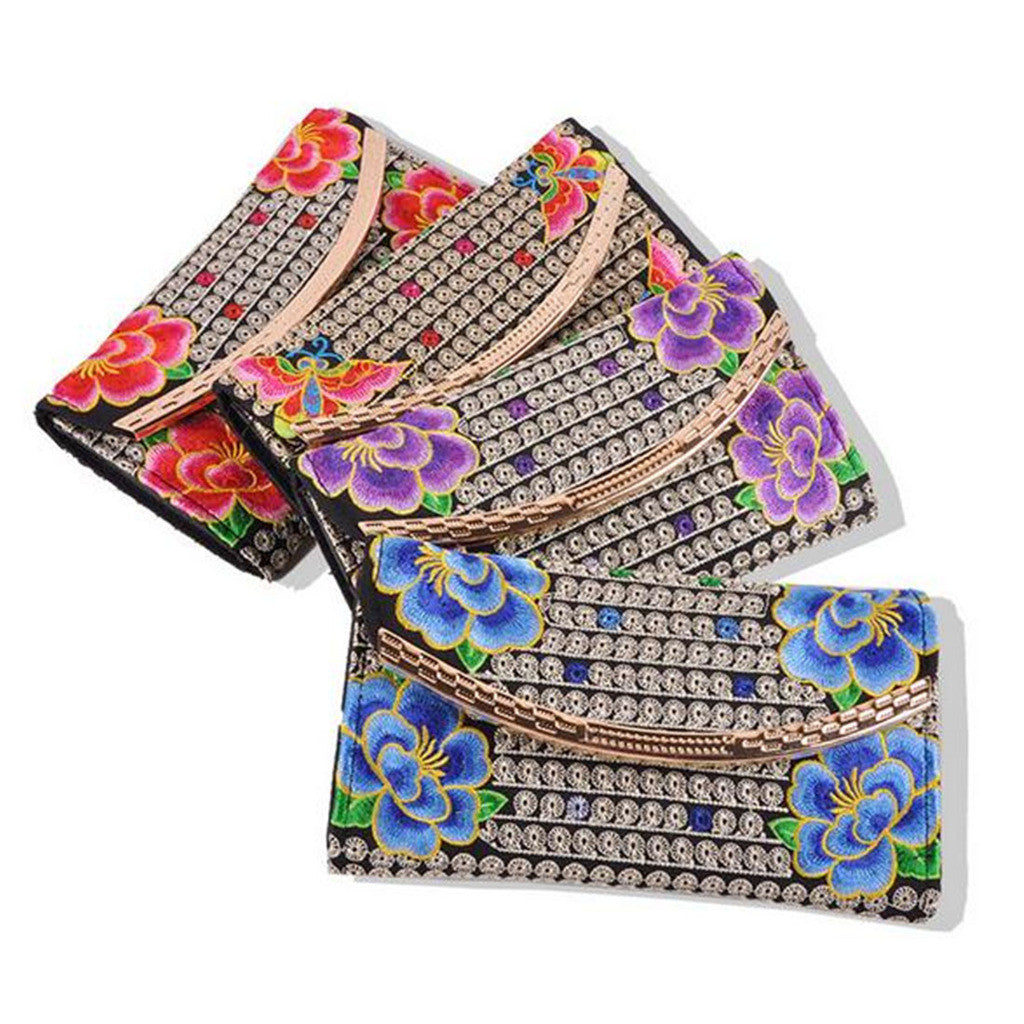 Yunnan National Style Embroidery Woman's Evening Banquet Bag Handbag Chinese Style Flower Banquet Bag   4 flowers random - Mega Save Wholesale & Retail - 1