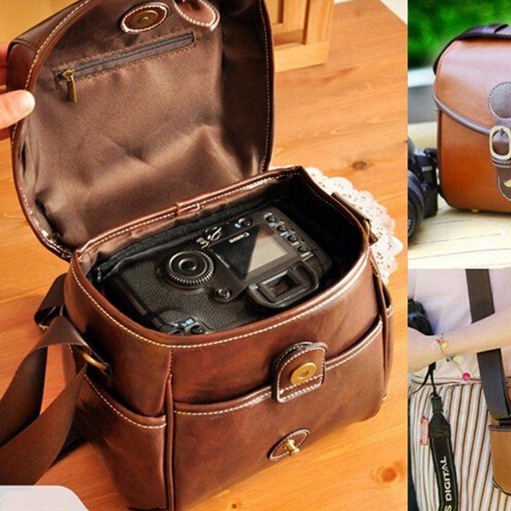 Retro PU Leather Shoulder Bag Camera Case for Canon Canon EOS 650D 600D 550D 70D 60D - Mega Save Wholesale & Retail - 1