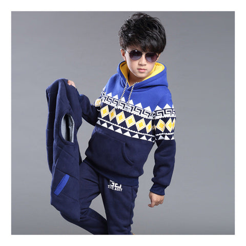 Korean and cashmere Hoodie sweater boy Adidas thickening three piece Blue - Mega Save Wholesale & Retail - 1