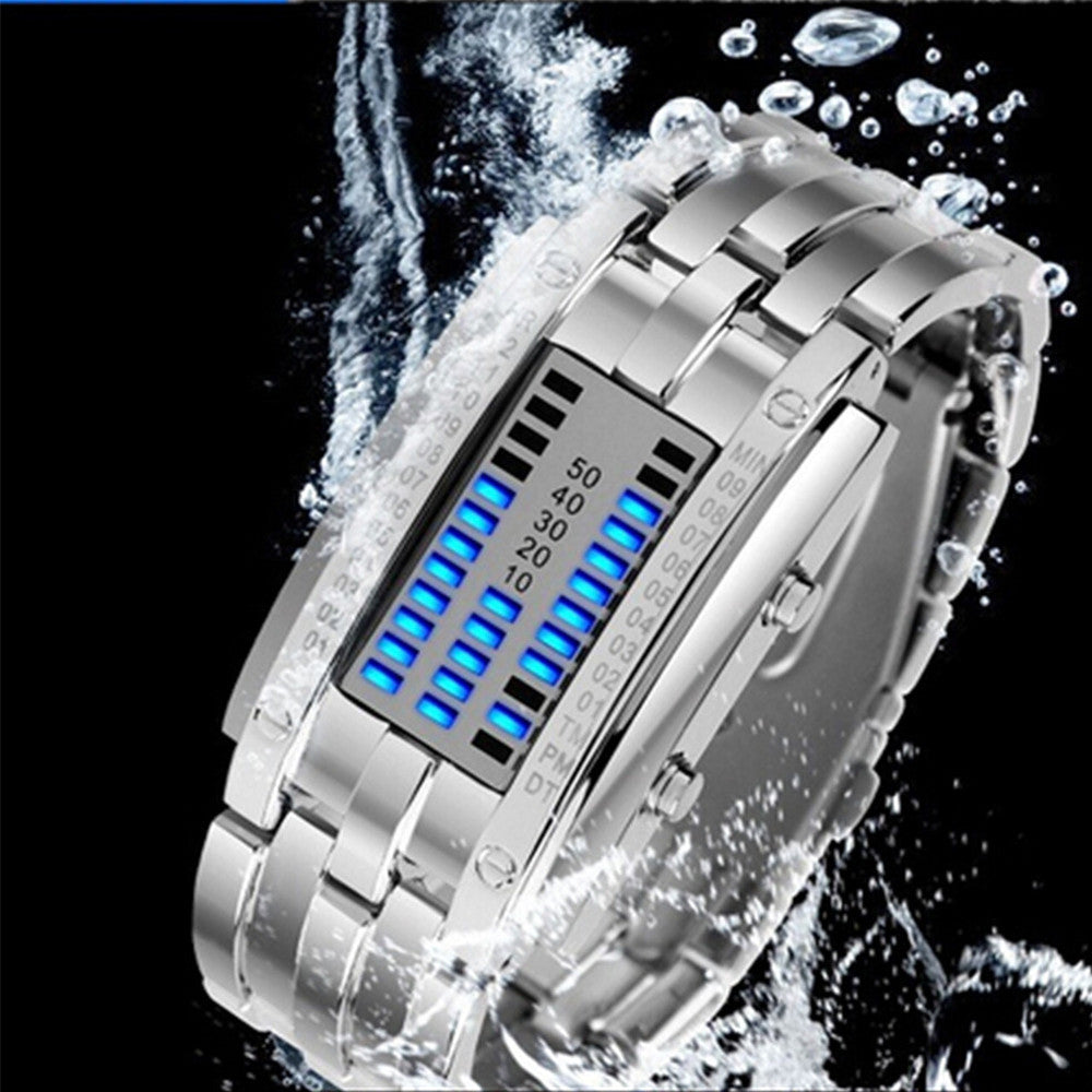 Deep Waterproof Creative Date Digital LED Luminous steel Men Women Bracelet Fashion Chic Watch Silver Men - Mega Save Wholesale & Retail - 3