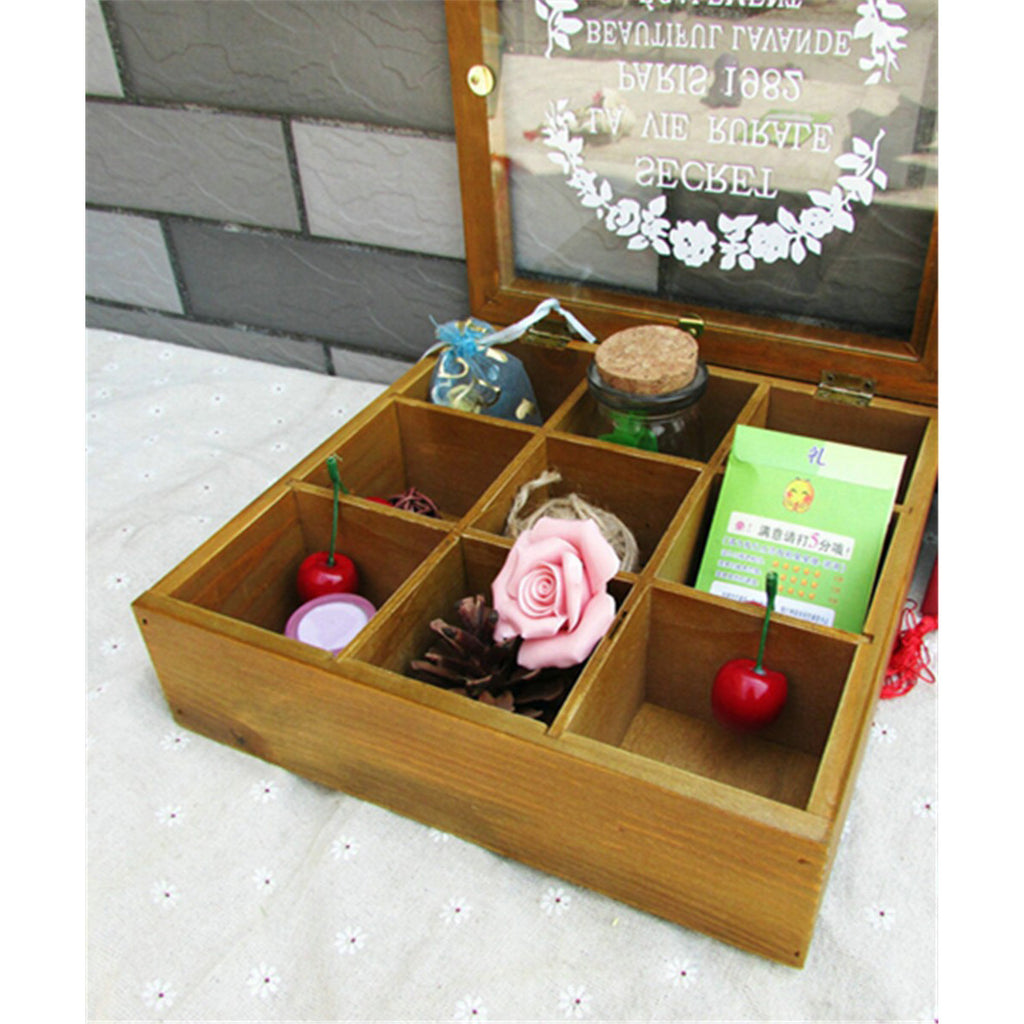 Zakka Retro Vintage 9 Cabinets Jewelry Storage Wooden Box Clear Cover   Blue petal - Mega Save Wholesale & Retail - 5