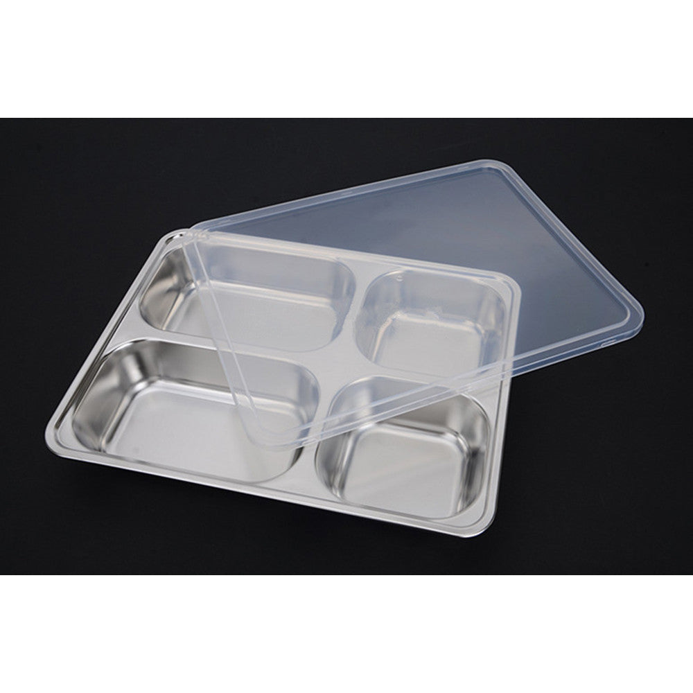 Deepen thick stainless steel plate snack square stainless steel sub-grid covered five grid fourfold rice dish lunch boxes free shipping 4 Grid + Plastic lid - Mega Save Wholesale & Retail