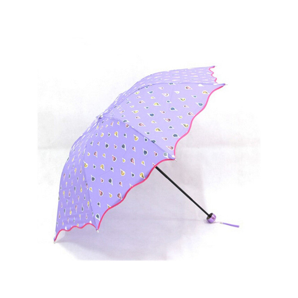 Fashion umbrella Color Changing Water Activated Windproof Princess Folding Umbrella Blue - Mega Save Wholesale & Retail - 4