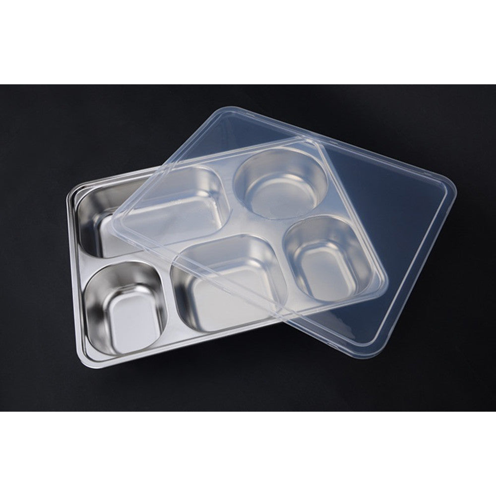 Deepen thick stainless steel plate snack square stainless steel sub-grid covered five grid fourfold rice dish lunch boxes free shipping  5 Grid + Plastic lid - Mega Save Wholesale & Retail