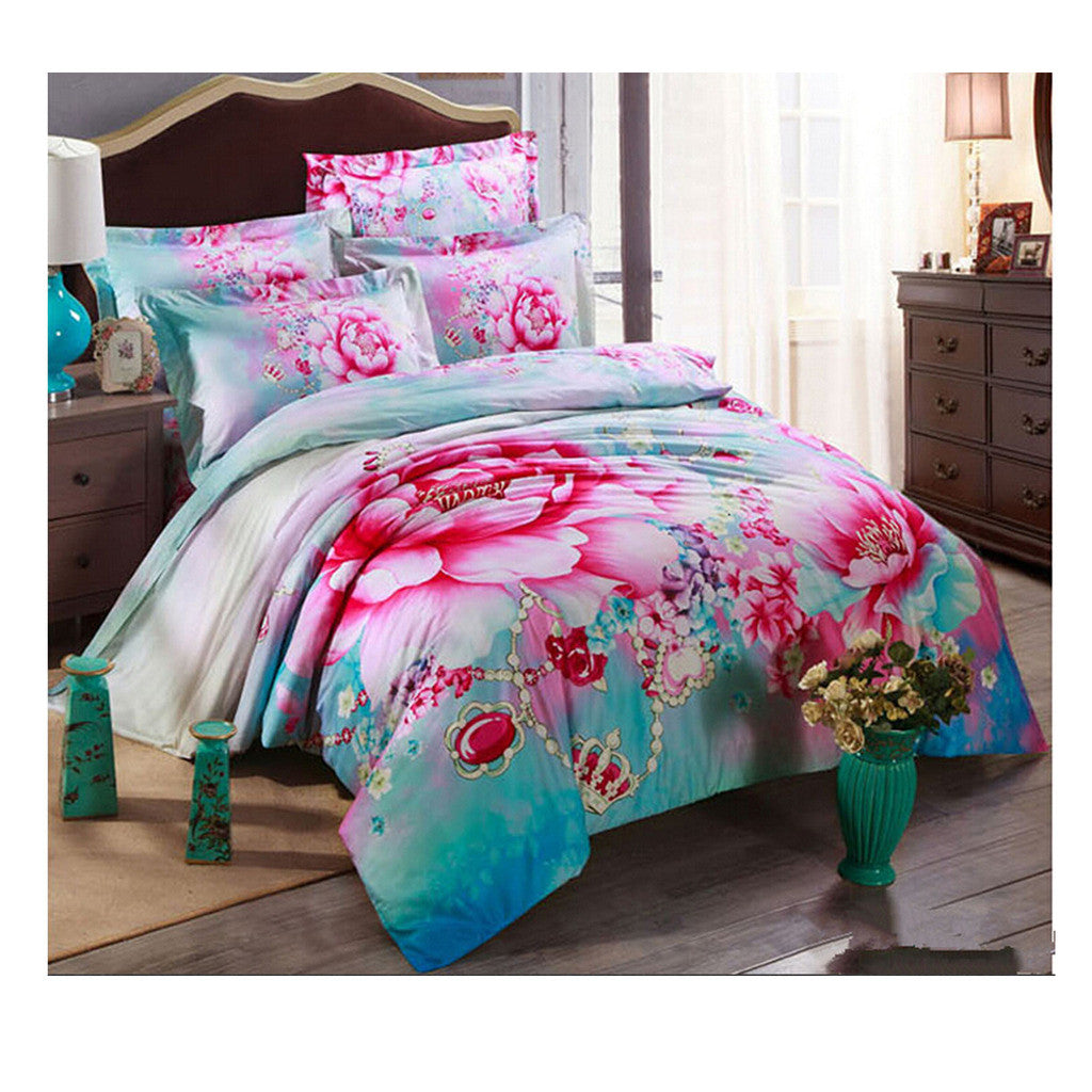 Cotton Active floral printing Quilt Duvet Sheet Cover Sets  Size 63 - Mega Save Wholesale & Retail