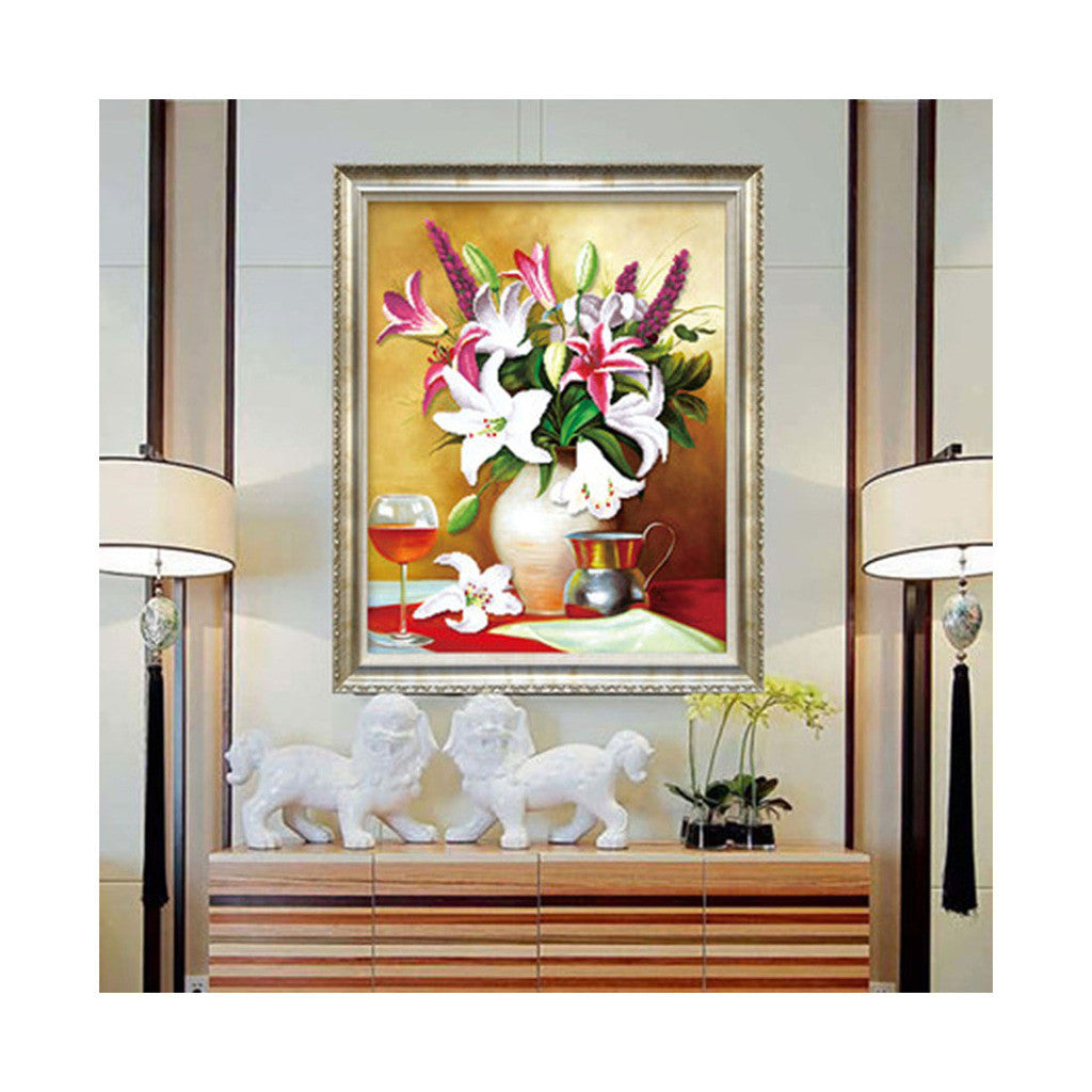 5D Diamond Painting Round Painting Magic Cube Diamond European Oil Painting Fragrant Blossom Lily Living Room Diamond Stitch - Mega Save Wholesale & Retail