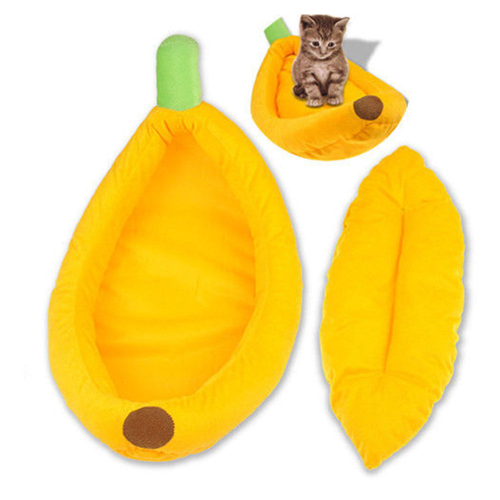 Stylish Cute Pet Dog Cat Mat Banana Shape Bed House Kennel Doggy Warm Cushion S - Mega Save Wholesale & Retail