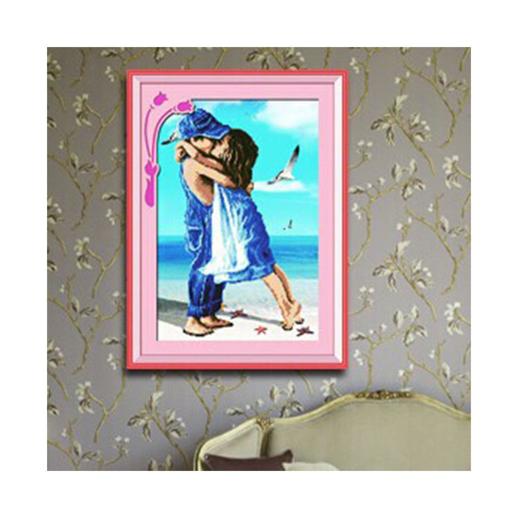 Seaside Cuople Cross Stitch Boy Girl Seaside Romantic Kiss Innocence of Childhood Friends Landscape Diamond Painting - Mega Save Wholesale & Retail