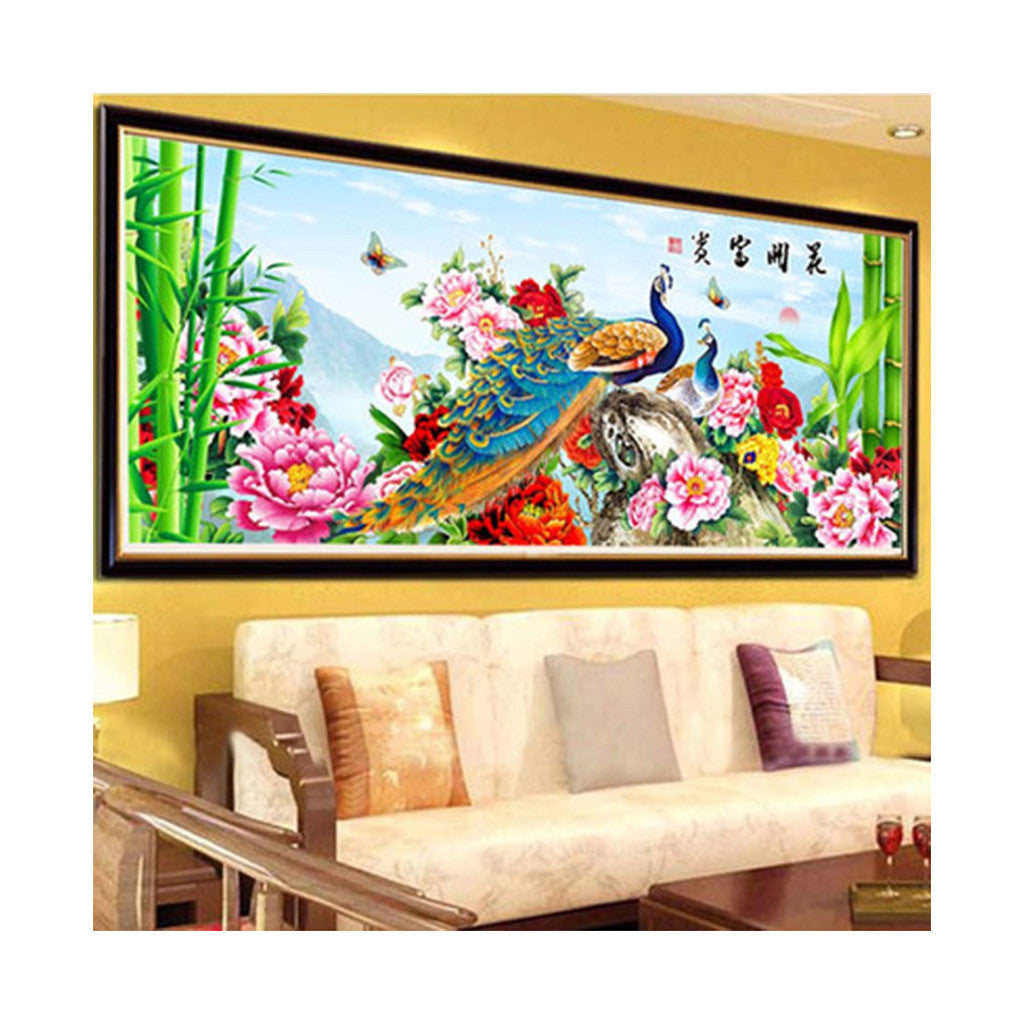 5D Cross Stitch Fortune Comes with Blooming Flowers Peacock Living Room Diamond Painting Diamond Stitch - Mega Save Wholesale & Retail