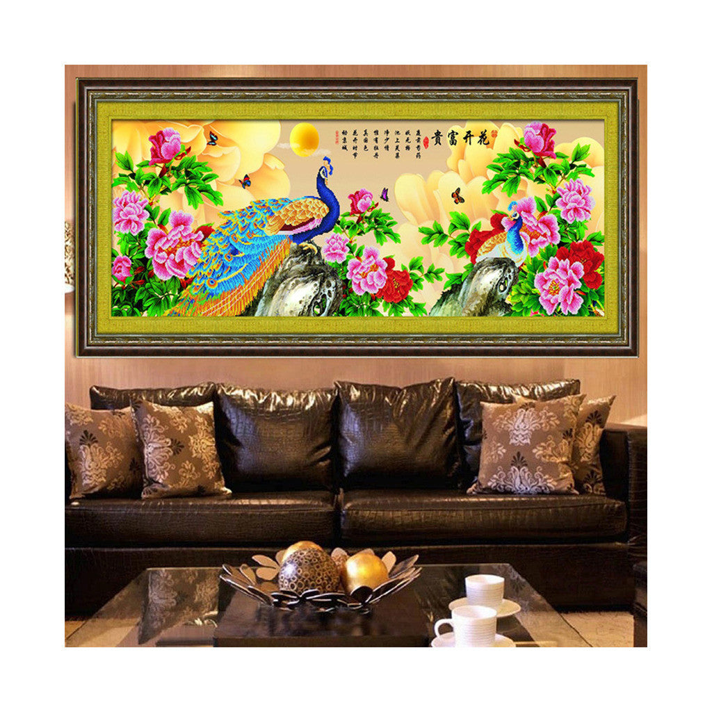 Diamond Painting Fortune Comes with Blooming Flowers Peacock Living Room Diamond Stitch Diamond Paste Cross Stitch - Mega Save Wholesale & Retail