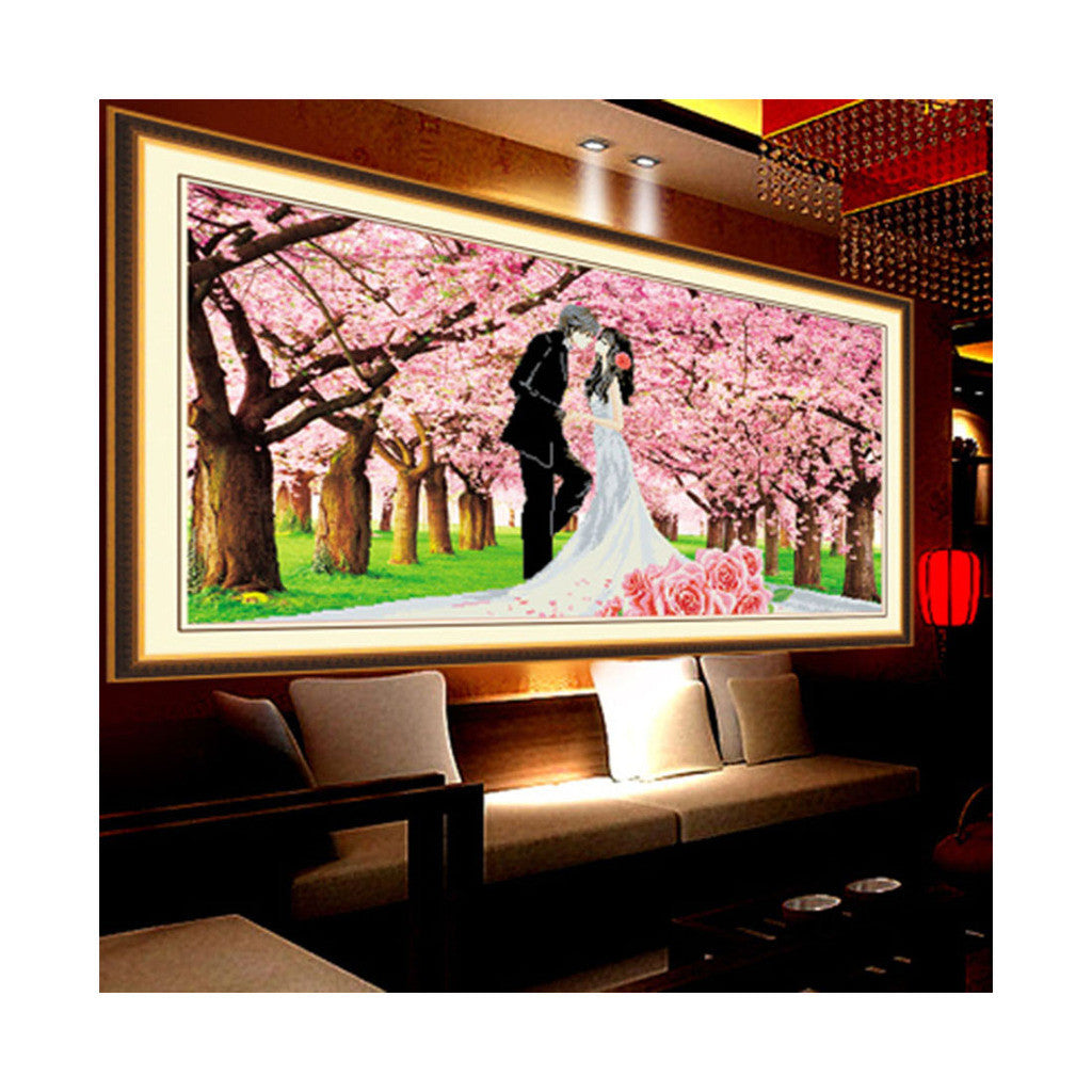 5D Diamond Painting Wedding Cross Stitch First Love Romantic Sakura Lovers - Mega Save Wholesale & Retail