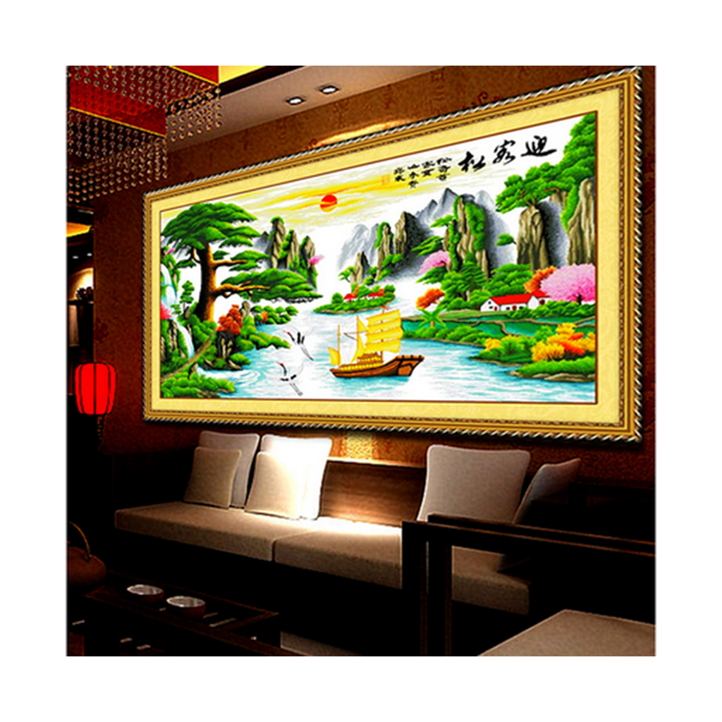 Living Room Bedroom Scenery Mountains-and-waters Painting Printing Diamond Painting The Pine Greeting Guests Luck in Making Money Cross Stitch - Mega Save Wholesale & Retail